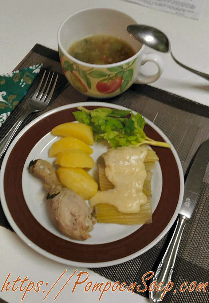 Ouderwetse Kippensoep met aardappel, bleekselderij en kassaus